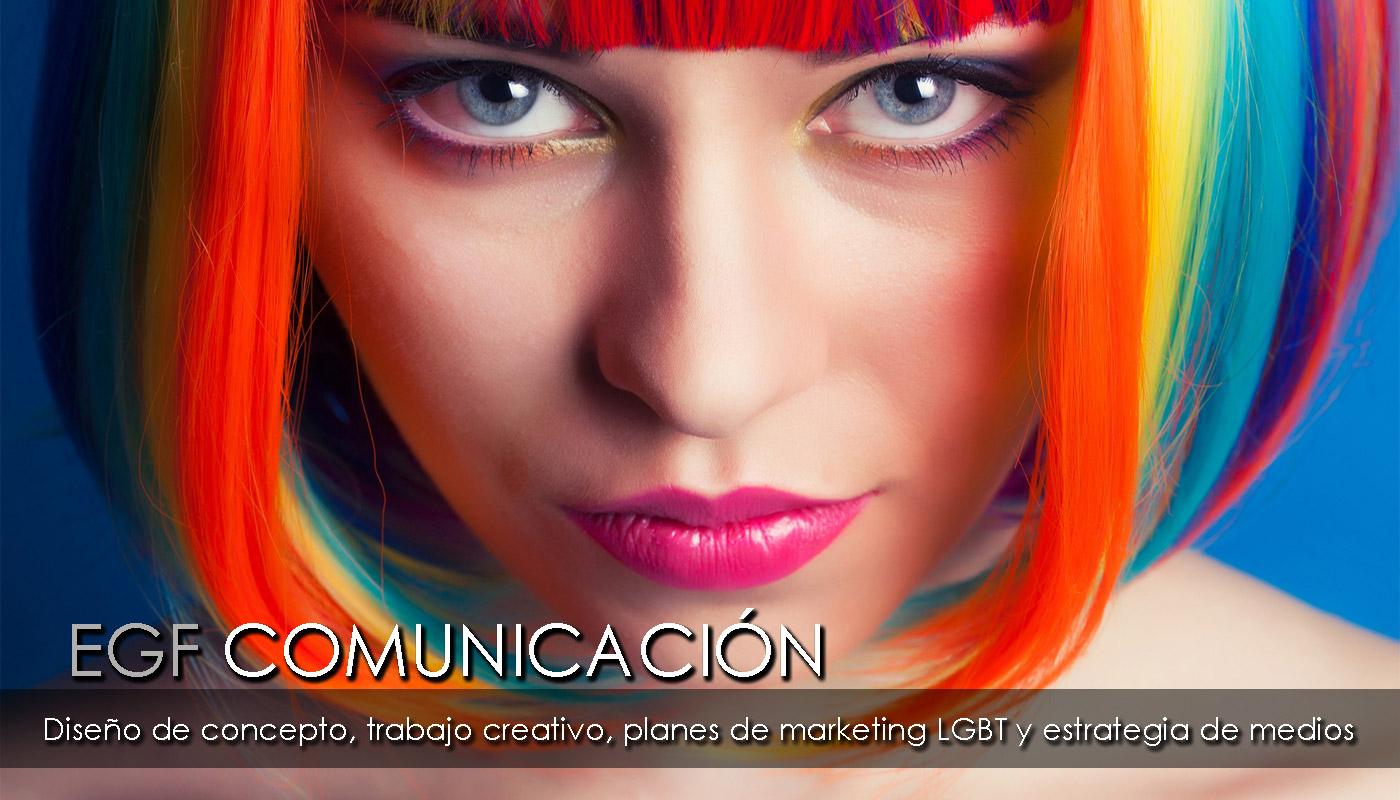 Servicio de comunicación del Grupo EGF:  Diseño de concepto, trabajo creativo, planes de marketing y control de medios, en relación al público de personas  gays, lesbianas, bisexuales y transexuales