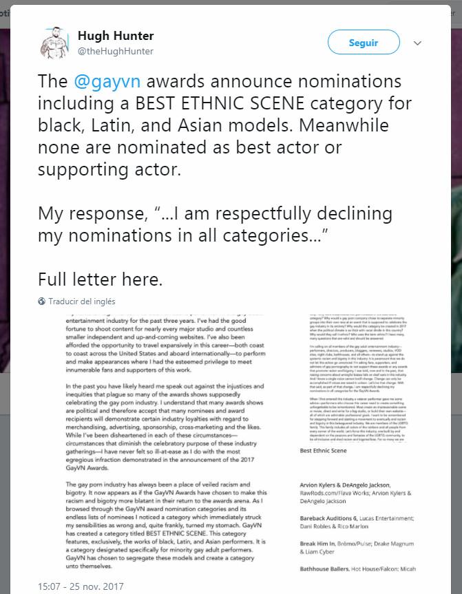 Estrella del porno gay renuncia a los premios GayVN por el racismo existente en la industria